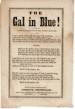 THE GAL IN BLUE! 1850's Blackface Minstrel Broadside SONG SHEET - Joshua Peckham