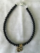 Black Beaded anklet or cat necklace with gold plated paw charm