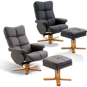 Recliner Chair with Ottoman Footrest Storage Space PU Leather Wooden 2 Colors