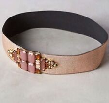 NEW Anthropologie Rose Gold / Pink Elastic Stretch Beaded Corset Belt Size Small
