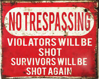 No Trespassing Shot Warning VINTAGE ENAMEL STYLE METAL TIN SIGN WALL PLAQUE