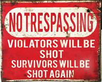 No Trespassing Shot Warning VINTAGE ENAMEL STYLE METAL TIN SIGN WALL PLAQUE