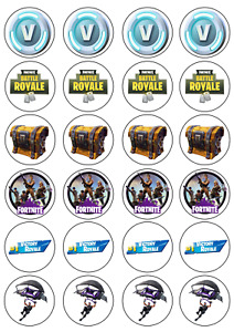 24 x Fortnite Edible Cupcake Toppers Wafer Icing Decorations Video Game Theme