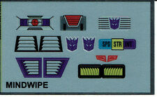 TRANSFORMERS GENERATION 1, G1 DECEPTICON PARTS MINDWIPE REPRO LABELS / STICKERS