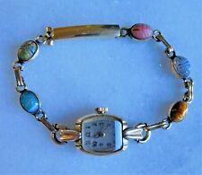 Vintage 10K GF Hamilton Watch 17J Egyptian Revival Scarab Bracelet Working Order