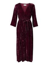 Stella Forest Mely Velvet Midi Dress With Silk Red Size FR 40 UK12 NEW