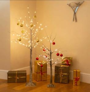 LUXURY LARGE 72 LED 180CM LIGHTUP WARM WHITE BIRCH CHRISTMAS TREE TWIG GLITTER
