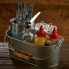 Galvanised Steel Oval Table Caddy Condiment Storage Sauce Bottles Cutlery Napkin