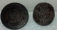 Pair Circulated worn coins with very little details OLD and Very used.
