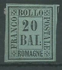 Italia Stati Romagne 1859 20 baj black on green imperf SG10 mint no gum (2047)