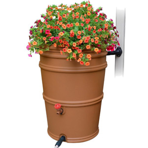 Rain Barrel Diverter Downspout Water Collector Garden Spigot 45 Gal. Terracotta