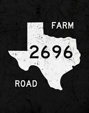 "TIN SIGN ""Texas Farm Road"" Highway Deco  Garage Wall Decor"