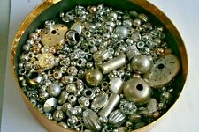 Box Vintage/Antique Loose Silver Metal/Plastic Beads Findings Jewellery Spares