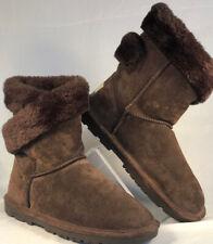 Lamo Essential Brown Faux Fur Suede Ankle Women Boots  Size 9