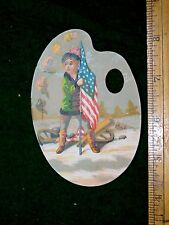1870s-80s Lovely Die Cut Palette Girl Holding US Flag Canon Snow Trade Card F16