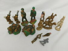 15 Mix Vintage Jh Miller Chalkware Toy Soldiers Elastolin Foxhole Flag Cavalry