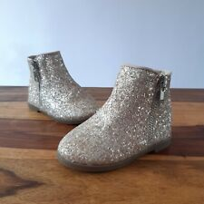 River Island Beige Rose Gold Glitter Sparkle Infant 3 Baby Boots