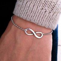 Silver Infinity Bracelet Chain Charm Jewelry Simple Inspired Women B8W2