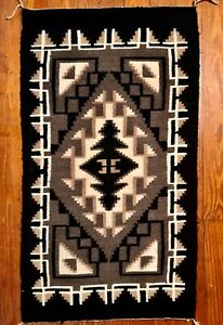 NAVAJO TWO GREY HILLS TAPESTRY RUG, STRIKING DESIGN, EXCEPTIONAL CONDITION, NR!