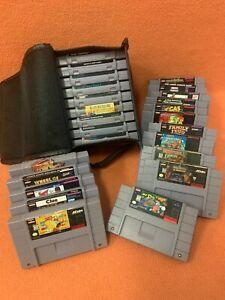 Super Nintendo SNES Game Lot W/ Mario Kart Itchy Scratchy Fatal Fury DK & Mr Do!