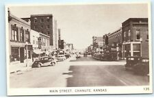 Chanute Kansas Main Street View Old Cars Cafe Store Fronts Vintage Postcard C47
