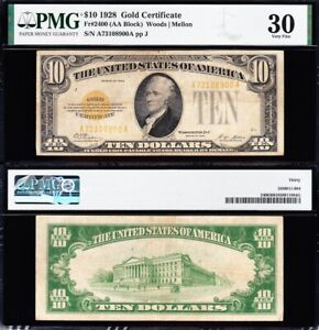AWESOME Crisp Choice VF++ 1928 $10 GOLD CERTIFICATE! PMG 30! FREE SHIP! 08900A