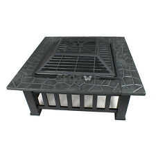 Outdoor Steel Fire Pit Wood Fireplace Heater Square W/ Waterproof Dust Cover