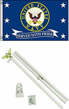 3x5 U.S. Navy Served With Pride Flag w/ 6' Ft White Flagpole Flag Pole kit