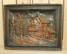 Vintage hand made wall hanging copper plaque expressionist landscape house