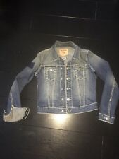 Womens True Religion Emily Denim Jeans Stretch Fit Jacket in Blue - Size Large