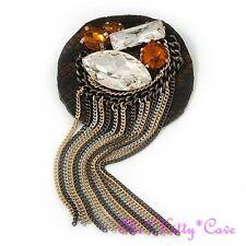 Fringe Tassel Large Brooch Pin Statement Handmade Leather Snakeskin Bling Chain