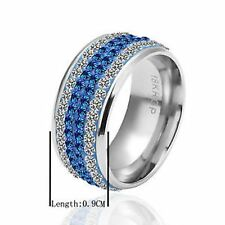 18K PLATED BLUE & CLEAR DIAMONTE  RING WITH 4 BANDS OF DIAMONTES - SIZE 8 - NEW