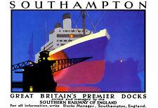 Art ad Southampton gran Britains Premier Muelles Tren Ferrocarril viajar cartel impresión