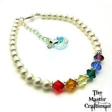 ☆ lgbt crystal pearl gay LESBIAN bi pride bracelet rainbow personnalisé bracelet