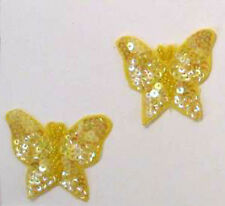 YELLOW BUTTERFLY SEQUIN BEADED APPLIQUE PAIR 2078-B