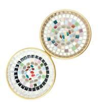 "Mosaic Tile Small 5 7/8"" Tiled Plates Set of 2 Vintage Golded Aluminum Backs"
