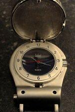 Rare Dumont Bulldog Pocket Watch Flip Top + Compass (Saab) Quartz 32mm