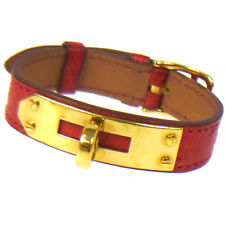 Authentic HERMES Vintage H Logos Charm Ostrich Bracelet Red Accessories S03151