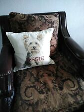 "Pottery Barn  Dog  Decor Pillow Cover/ Insert Linen 18x18"" Square New"