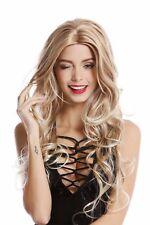Perruque pour Femme Très Long Raie au Milieu Ondulés Blond Platinblonde Affiler
