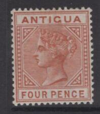 "ANTIGUA SG28a 1887 4d CHESTNUT ""TOP LEFT TRIANGLE DETACHED"" MTD MINT"