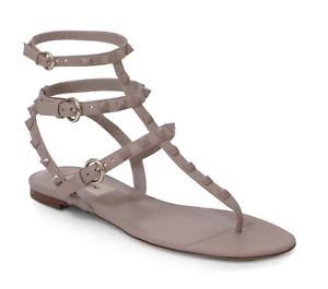 Valentino Rockstud Poudre Tonal Stud Triple Strap Thong Gladiator Flat Sandal 38