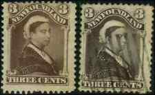 Newfoundland #51,52 mint/used Faulty 1887/1896 Queen Victoria 3c both shades