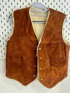 Vintage Mens Gilet Small Leather Lightly Distressed Deep Tan