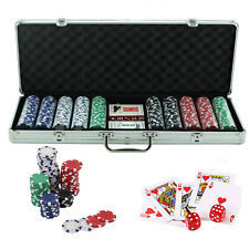More details for professional 500 piece texas hold'em poker casino game chips set in case new