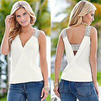 Women Chiffon Lace Sleeveless Blouse T-Shirt Summer Cross Over Loose Vest Tops