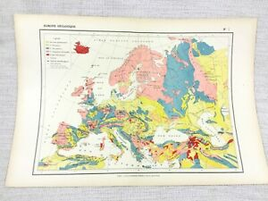 1888 Antique Map of Europe European Geology Geological FRENCH 19th Century