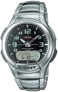 Casio AQ-180WD-1BV Mens Analog Digital Sports Databank Watch LED World Time New