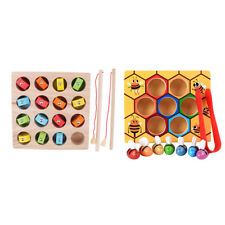 2 Sets Wooden Montessori Bee Clip Out Box Fishing Game Kids Intelligence Toy