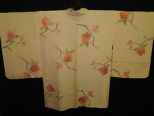 Light Apricot Silk Japanese HAORI w/Flowers J765